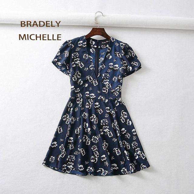 BRADELY MICHELLE 2018 summer mini dress sexy v-neck short-sleeve printed dresses for women with zipper