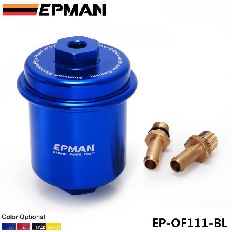 Epman Sport Universal JDM Blue Aluminum High Flow Performance Fuel Filter Washable EP-OF111-BL