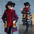 YNB British Style Children Winter Plaid Long Coat Fashion Jacket for Girls Windproof Coats with Hooded Children's  Clothing