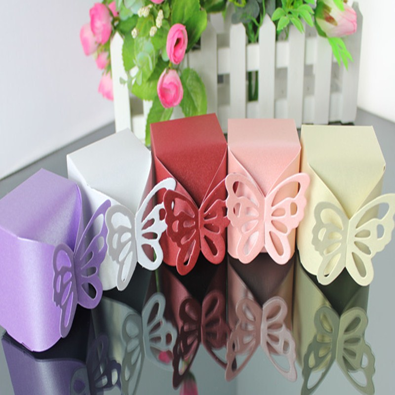 10 Pcs DIY Wedding Candy Box Decoration Paper Favors Gifts Boxes Party hot sale Wedding Butterfly Candy Box For Baby Shower in Gift Bags Wrapping Supplies from Home Garden