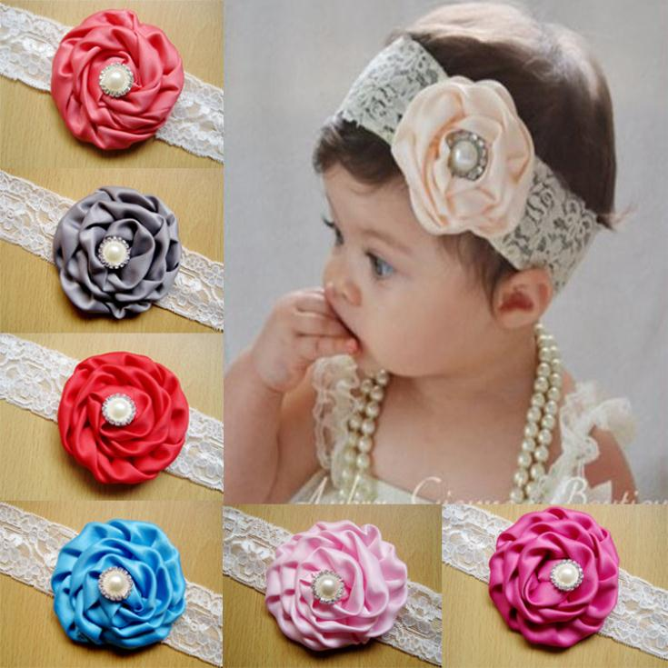 kid diadema de flores de tela de satn cinta rosas rhinestone diadema nios flores para