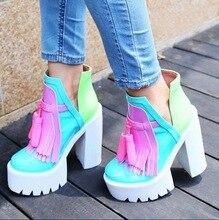 Fashion Women Platform Ultra High Heels Boots Europe Thick Heel Tassel Women Shoes Mixed Colors Round Toe Fashion Winter Boot цены
