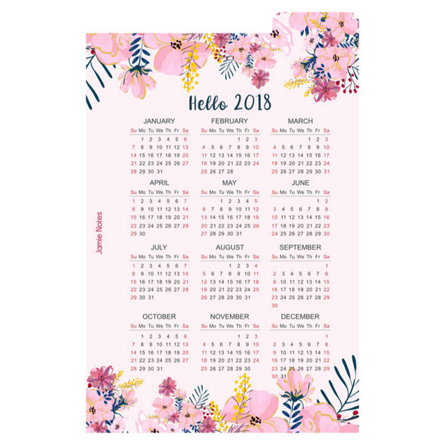 Cute Cartoon Happy 2018 Year Calendar Index Paper Divider For 6 Holes Diary  Binder Weekly Planner