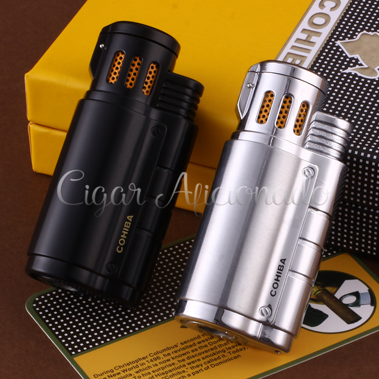 COHIBA Gadgets Metal Butane Gas Windproof Triple Torch Jet Flame Cigarette Cigar...