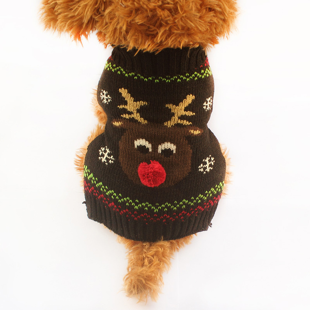 Army store Christmas Deer Pattern Knit Dog Sweater Dogs Autumn ...