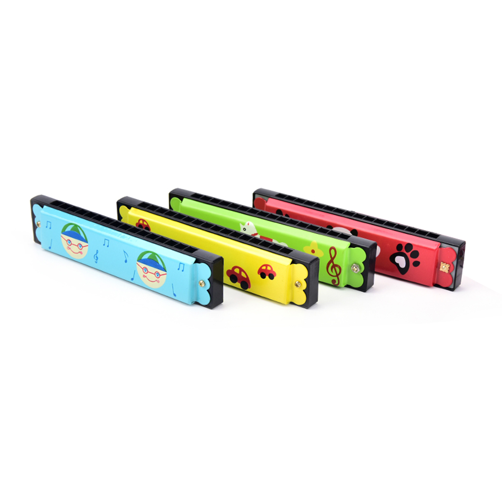 Music Teaching Tools Wooden 16-hole Harmonica Kids Children Musical Instrument Educational Toy Random Pattern