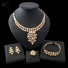 YULAILI 2018 New Coming Alloy Pearl Design High Quality Gold Plating Four Jewelry Set for Ladies