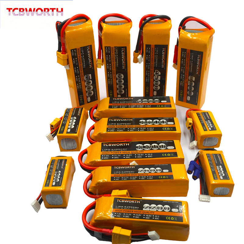 <font><b>14.8V</b></font> RC Lipo Battery 4S <font><b>2200mAh</b></font> 2600mAh 3300mAh 4000mAh 5200mAh6000mAh 25C 35C60C For RC Airplane Drone Helicopter Quadrotor 4S image
