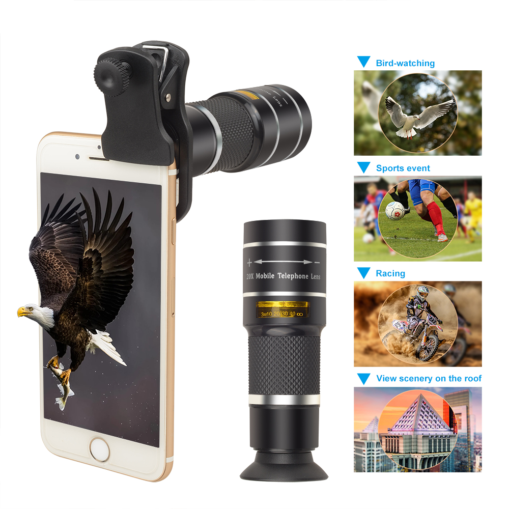 Image 3 - Apexel mobile phone camera lens 20X Zoom Telescope monocular lenses with tripod&Bluetooth For iPhone7 Samsung for sports concertMobile Phone Lens   -