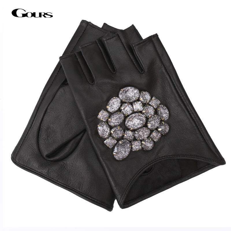 Gours Fall And Winter Women's Genuine Leather Gloves Black Goatskin Stone Half-finger Gloves New Fashion Warm Mitten GSL011