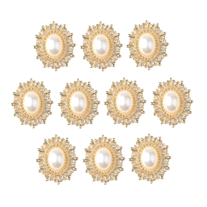 fityle 10x Gold Alloy Oval Rhinestone Pearl Flatback Buttons Jewelry Making Findings Scrapbook Embellishments for Craft 29mm