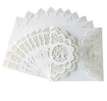 100pcs White Laser Cut Square Wedding Invitations Cover Lace Hollow Greeting  Cards Invites Holder Party Favors