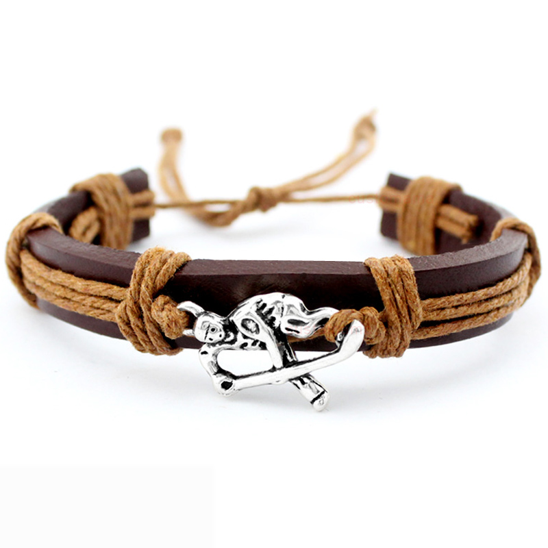 Field Ice Hockey Player Soccer Football Volleyball Lacrosse Gymnastics Tennis Golf Calisthenics Charm Leather Bracelets Jewelry