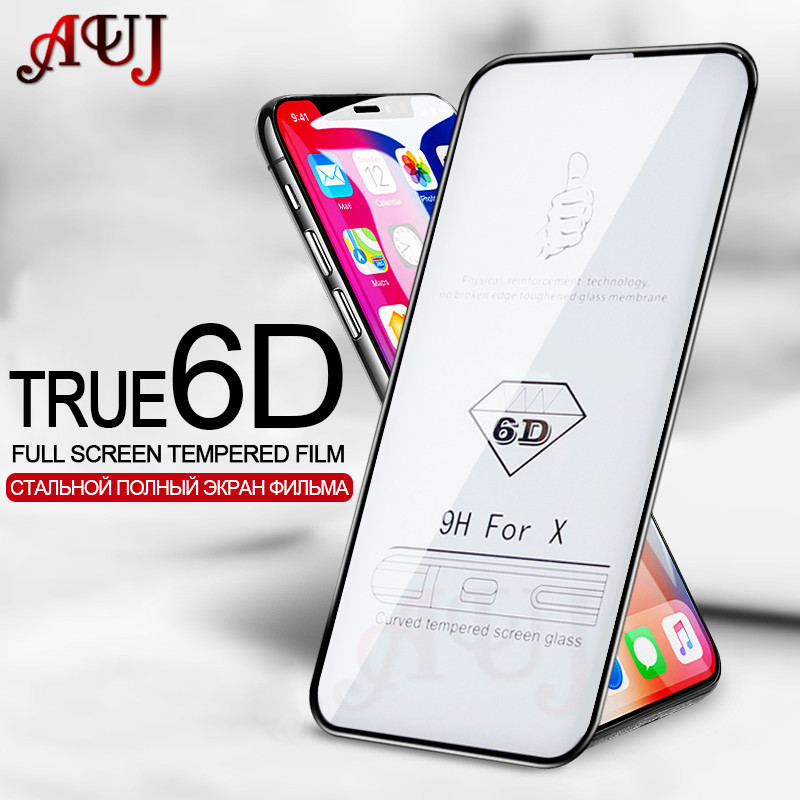 AUJ Screen-Protector Protective-Glass Full-Cover 6d Curved iPhone Xr Xs Max for The