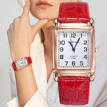 2019 New Watches Women Square Rose Gold Wrist Watches Red Leather Fashion Brand Watches Female Ladies Quartz Clock montre femme ibso hit color watches for female fashion cut glass design women quartz watch ladies magnet buckle wrist watches montre femme