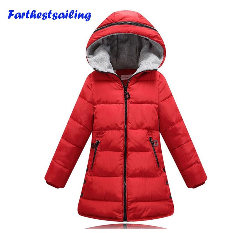 2017 Teenage Winter Coats Girls kid jacket Thick Warm Outerwear jacket for girl clothes Cotton Padded Hooded Children Clothing in Down Parkas from Mother Kids