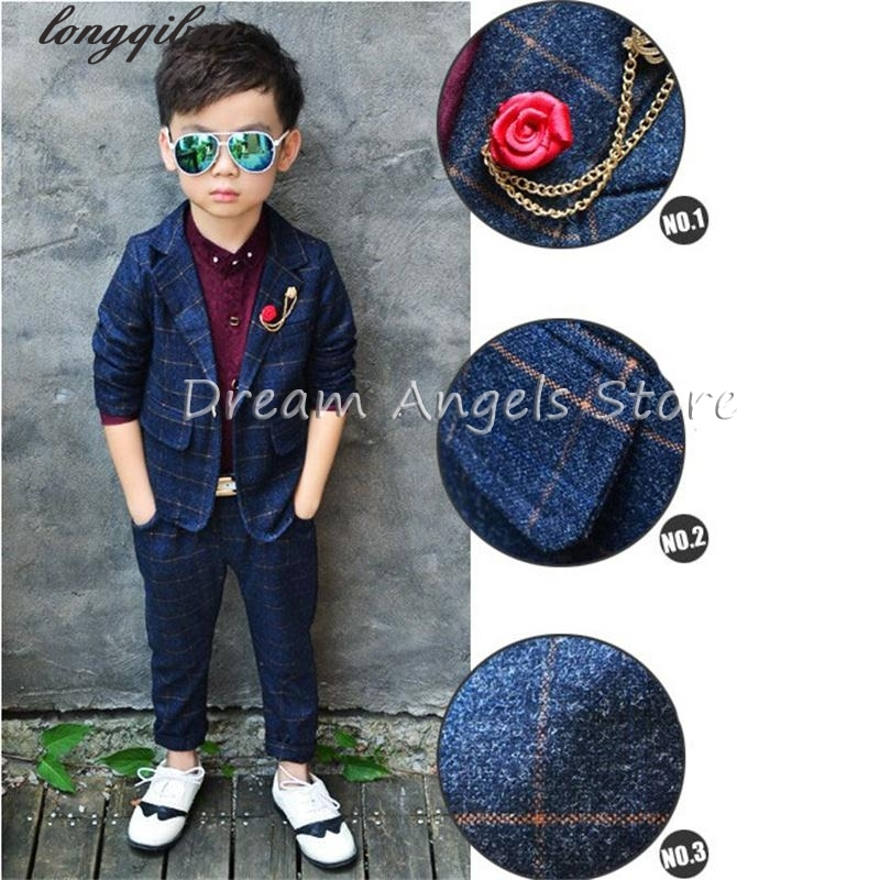 Retro gentleman style Boy's suits tailor suit Blazer suits for boy 2 piece(Jacket+Pants) The suits Groom Tuxedos Flower girl kimocat boy and girl high quality spring autumn children s cowboy suit version of the big boy cherry embroidery jeans two suits