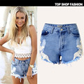 2017 Women's Fashion Brand Vintage Tassel Slim Fit Bore Hole Loose High Waisted Short Jeans Punk Sexy Hot Woman Denim Shorts