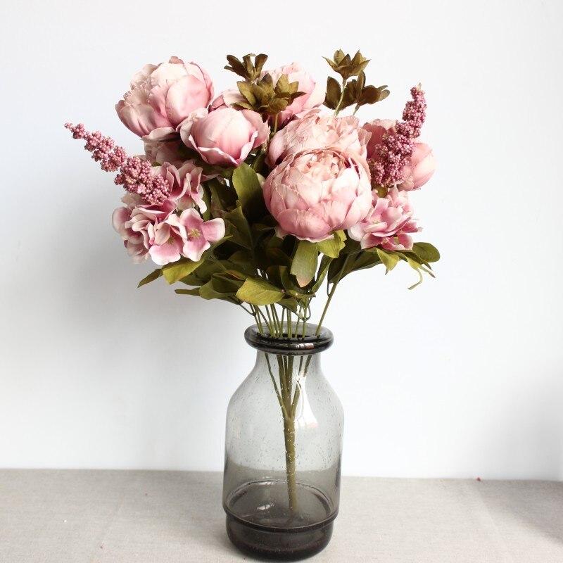 빈티지 실크 꽃 유럽 1 꽃다발 인공 꽃 가을 생생한 모란 가짜 잎 웨딩 홈 파티 장식 13 가지