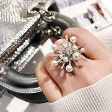 Fashion Big Snowflake Pearl Rings For Women Creative Statement Ring Personality Open Design Adjustable rings Jewelry Wedding