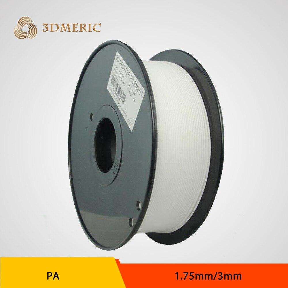PA Nylon White Color 3D printer filament 1.75mm 3.0mm 1kg/2.2lbs Consumable for MakerBot RepRap UP Mendel 3 Color Optional