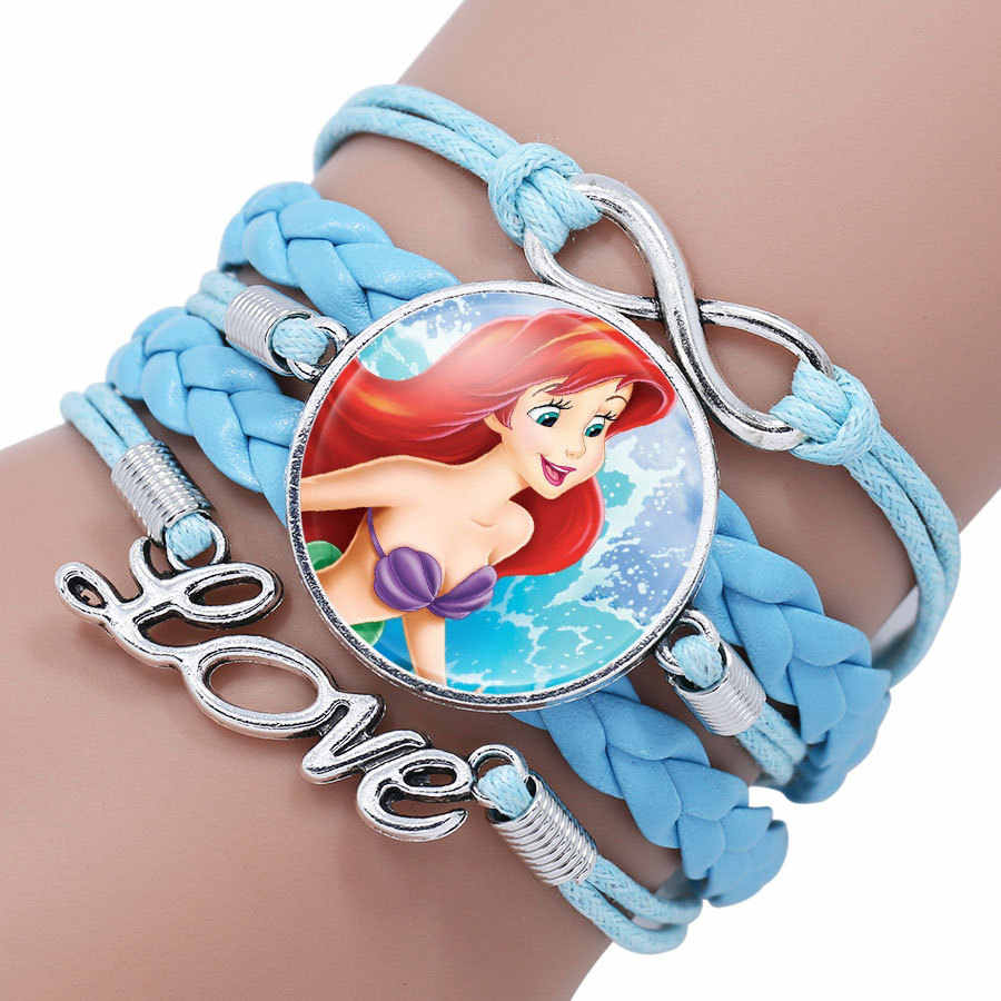 Pulsera de dibujos animados de Princesas de Disney para niños, pulsera bonita de Elsa congelada, regalo para niñas, accesorios de ropa, brazalete, joyería de maquillaje para niños