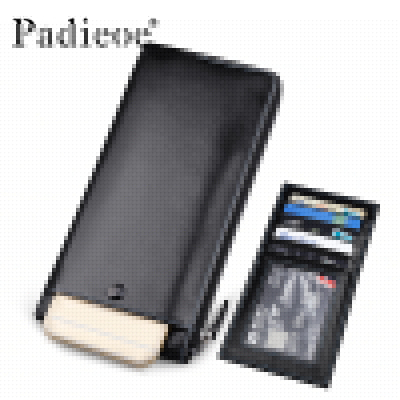 ФОТО Padieoe Men's Genuine Leather Long Wallet Fashion Designer Phone Pouch Bag High Quality Male Zipper Bag Multiple Card Holder Bag