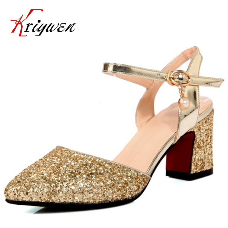 Big size 33-43 Summer Sexy Elegant ladies bling pointed toe party shoes solid wedding gold silver thick high heels club Sandals пылесос хозяйственный clatronic bs 1285
