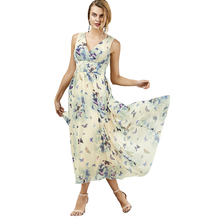 9990d8a31f18 Muyoms Summer Women Bohemian Style Butterfly Print Flowing Sleeveless Maxi  Dresses