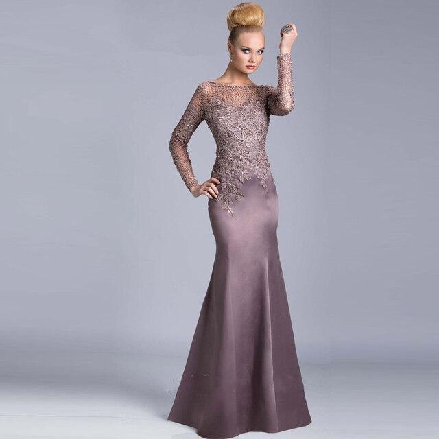 a3adb235186 vestidos de Festa Long Sleeves Vintage Modest Women Gown Evening Formal  Dresses Mermaid Mother of the
