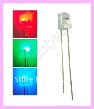 500pc flat Top 5mm Diffused RGB  LED diode Slow Color Change leds