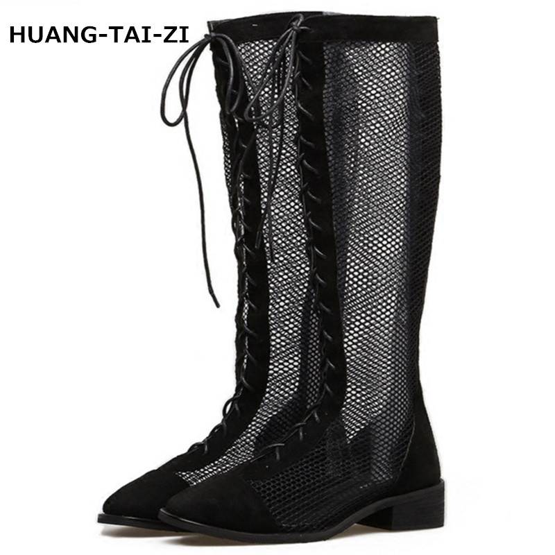 Size 35-40 New Fashion Women Knee High Boots Square heel Zipper Sexy Lace Mesh Boots Summer Cool Boots Breathable Women's Shoes new fashion boots summer cool