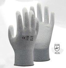 13 gauge carbon liner ESD Safe Anti-static PU Finger Top Coated Work Gloves for Electronic Works