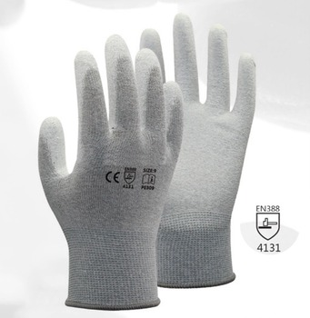 цена на 13 gauge carbon liner ESD Safe Anti-static PU Palm Coated Work Gloves for Electronic Works