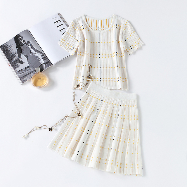 166fa72b2d63 Summer Women Fashion Striped Thin Suit Set Knitted Short Sleeves Crop Top  and Short Skirt Bottom Sets Ladies Skirt Suit