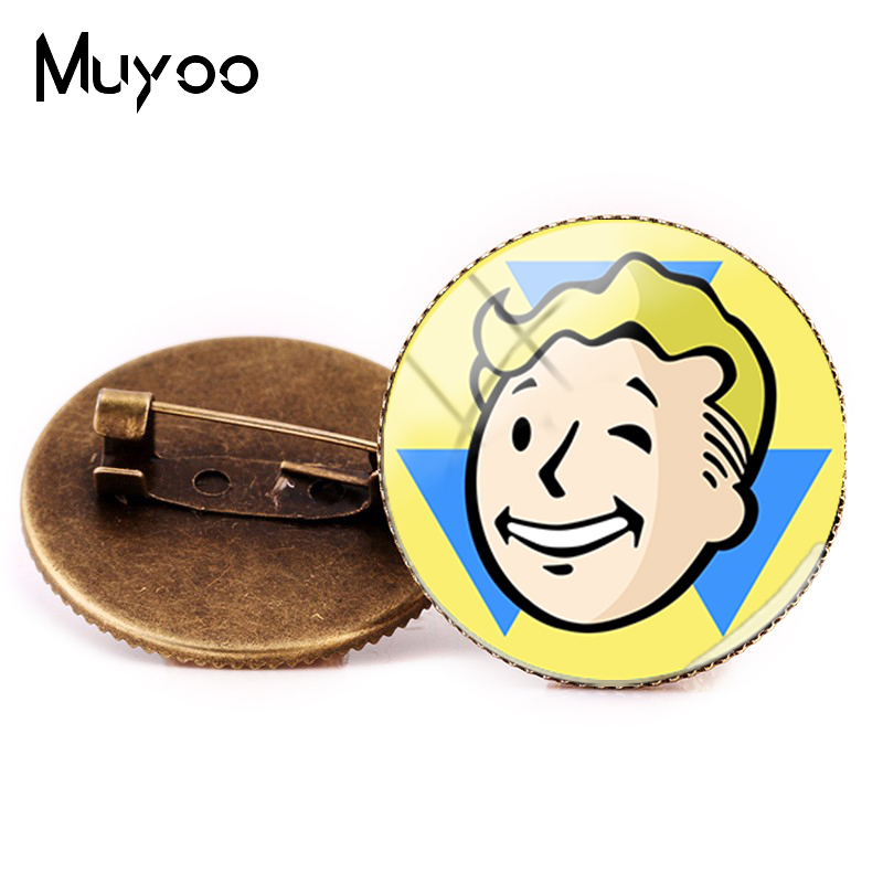 2018 New Style Fallout Shelter Brooch Pin Game Photo Brooches Bronze Silver Round Pins Handmade Glass Dome Handmade Jewelry image