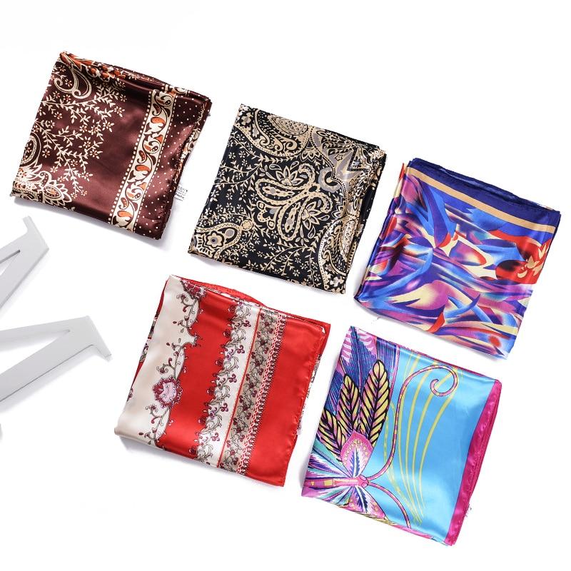 Высокое качество 90x90 см квадратный шарф Для женщин Летняя бандана цветы Дизайн большой Шелковый Шарфы для женщин шали палантины Демисезонн...