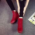 Envío gratis 2016 la moda de invierno cremallera nieve botas mujer zapatos calientes