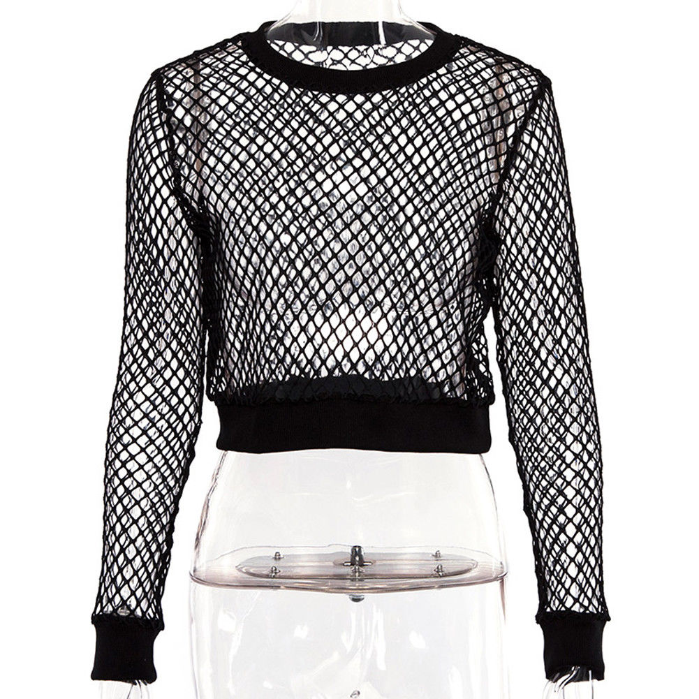 b0e5ea104f3 2018 Latest Style Women Sexy Mesh See Through Sheer Clubwear Party Long  Sleeve Blouse Fashion Shirt Crop Tops Hot-in Blouses   Shirts from Women s  Clothing ...