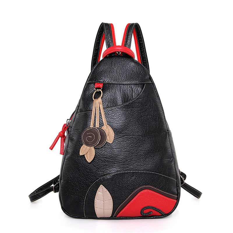 Cute Backpack Leather Backpack New Women's Chest Bag Korean Sheepskin Shoulder Bag Mother Single Shoulder Diagonal Package