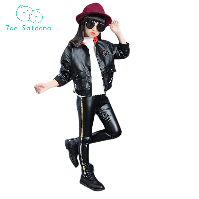 Zoe Saldana Spring 2018 Fashion Letter Pattern Print Girls Clothes Children Sets Hooded Leather+Leather Pants 2ps Suit letter print raglan hoodie