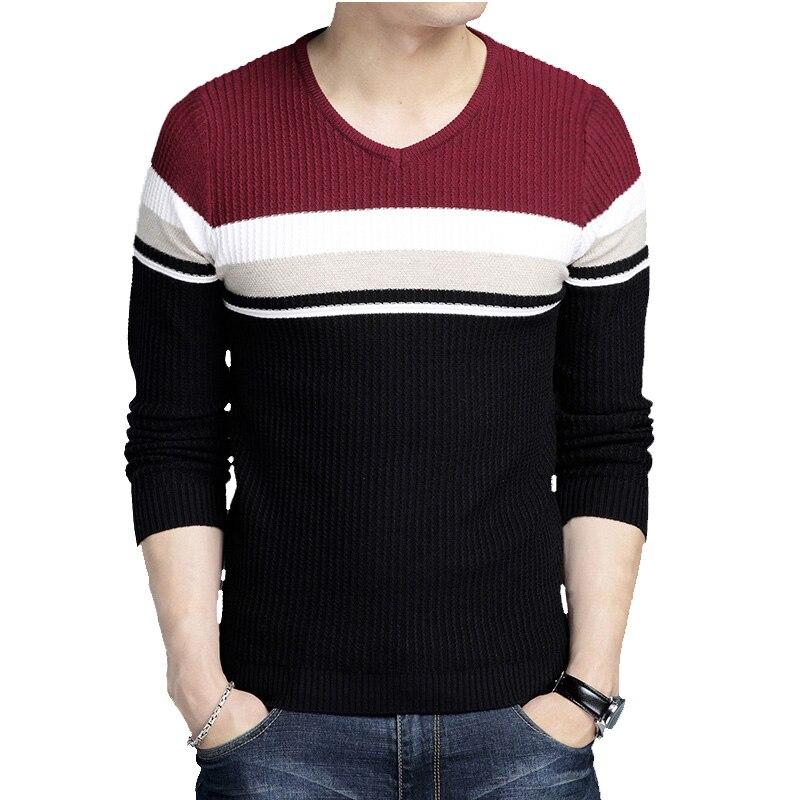 Sweater Men Winter V-Neck Slim Fit Long Sleeve Soft Warm Stripe Pullovers Mens Sweaters Men Knitwear Mens Sweaters For Men M-4XL