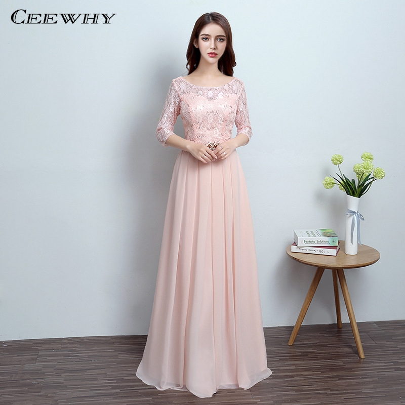 CEEWHY Pink Cheap Chiffon Evening Dresses Prom Dresses