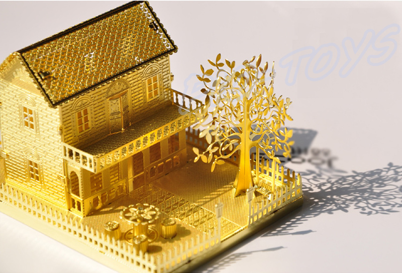 Exceptional Best Friend Gift Mini Villa 3D Model Building Golden House Mini Alloy  Puzzle Toy Romatic DIY Decoration Metal Frame Detail In Model Building Kits  From Toys ...