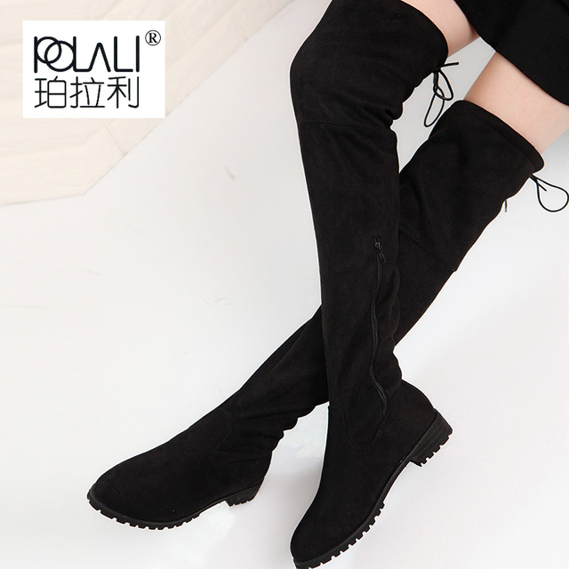 2f51e97ae9f POLALI Thigh High Boots Female Winter Boots Women Over the Knee Boots Flat  Stretch Sexy Fashion Shoes 2018 Black