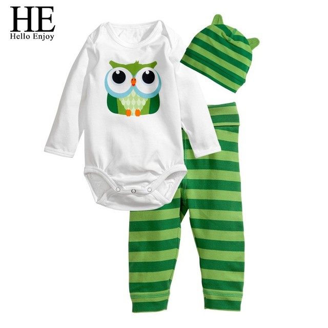 HE Hello Enjoy Baby rompers long sleeve cotton baby infant autumn Animal newborn baby clothes romper+hat+pants 3pcs clothing set 5