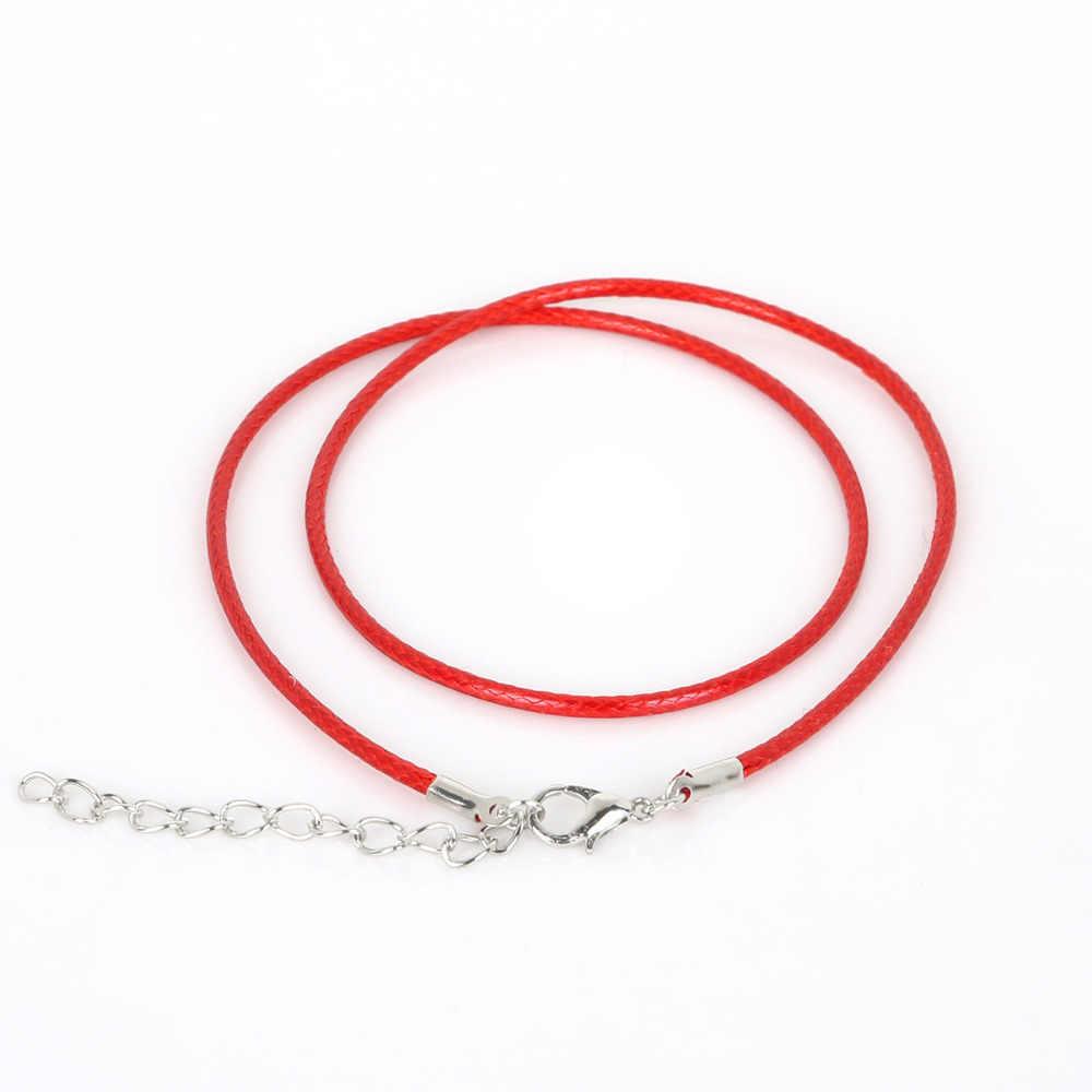 10 sztuk/partia 2 mm prawdziwej skóry ręcznie regulowana pleciona lina naszyjniki i zawieszki charms ustalenia karabińczyk sznurek