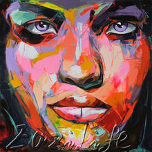 Palette knife painting portrait Palette knife Face Oil painting Impasto figure on canvas Hand painted Francoise Nielly 00
