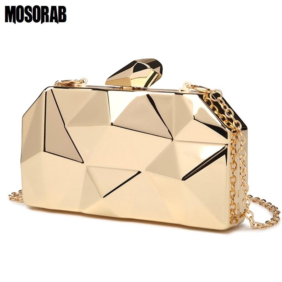 MOSORAB Gold Acrylic Box Geometry Clutch Evening Bag Elegent Chain Women Handbag For Party Shoulder Bag For Wedding/Dating/Party 1