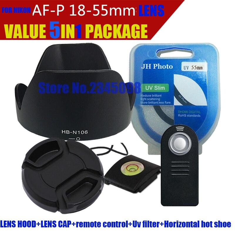 Valeur 5in1 Paquet Lens Cover + Télécommande + Uv Filtre pour Nikon D3300 D5500 AF-P 18-55mm 55mm HB-N106 Lens Hood Ensemble